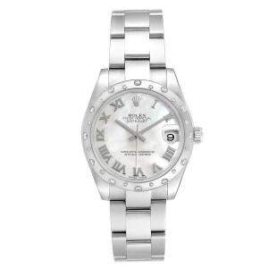 Rolex MOP Diamonds Stainless Steel Datejust 178344 Women's Wristwatch 31 MM