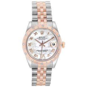 Rolex MOP Diamonds 18K Rose Gold And Stainless Steel Datejust 178341 Women's Wristwatch 31 MM