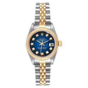 Rolex Blue Diamonds 18K Yellow Gold And Stainless Steel Datejust 79173 Women's Wristwatch 26 MM