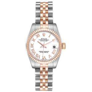 Rolex White 18K Rose Gold And Stainless Steel Datejust 179171 Women's Wristwatch 26 MM