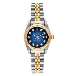 Rolex Blue Diamods 18K Yellow Gold And Stainless Steel Datejust 79173 Men's Wristwatch 26 MM