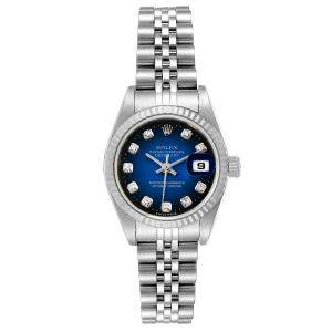 Rolex Blue Diamonds 18K White Gold And Stainless Steel Datejust 79174 Women's Wristwatch 26 MM