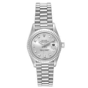 Rolex Silver Diamonds 18K White Gold President Datejust 69179 Women's Wristwatch 26 MM