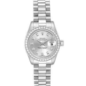 Rolex Silver Diamonds Platinum President 179136 Women's Wristwatch 26 MM