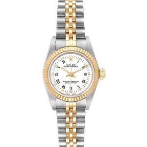Rolex White 18K Yellow Gold And Stainless Steel Oyster Perpetual 76193 Women's Wristwatch 24 MM