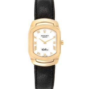 Rolex White 18K Yellow Gold Cellini Cellissima 6631 Women's Wristwatch 24 x 35 MM
