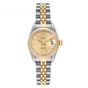 Rolex Champagne Diamonds 18K Yellow Gold And Stainless Steel Datejust 79173 Women's Wristwatch 26 MM