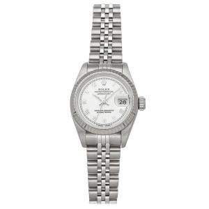Rolex White 18K White Gold And Stainless Steel Datejust 69174 Women's Wristwatch 26 MM