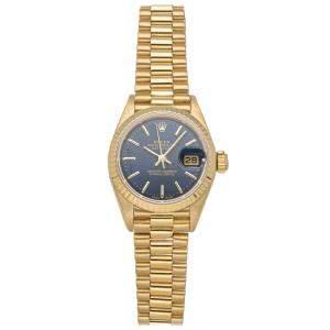 Rolex Blue 18K Yellow Gold Datejust 69178 Women's Wristwatch 26 MM