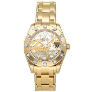 Rolex Yellow Goldust Dream Diamonds 18K Yellow Gold Pearlmaster 81318 Women's Wristwatch 34 MM