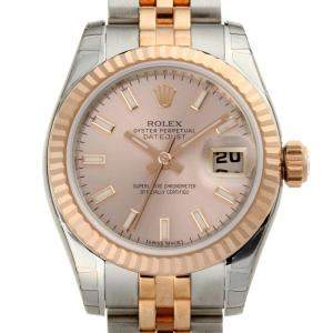 Rolex Pink 18K Rose Gold And Stainless Steel Datejust 179171 Women's Wristwatch 26 MM