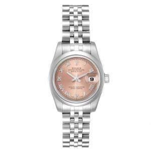 ساعة يد نسائية رولكس ديتجست 179160 أوتوماتيك ستانلس ستيل وردية فاتحة 26 MM