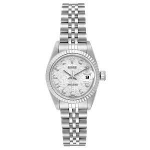 ساعة يد نسائية رولكس ديتجست 69174 أوتوماتيك ستانلس ستيل وذهب أبيض عيار 18 فضية 26 MM