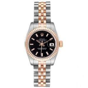 Rolex Black 18K Rose Gold Datejust 179171 Women's Wristwatch 26 MM