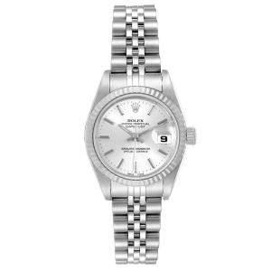 ساعة يد نسائية رولكس ديتجست 79174 ستانلس ستيل وذهب أبيض عيار 18 فضية 26 MM
