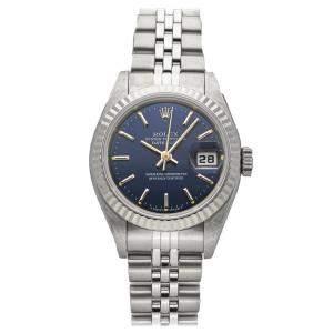 """ساعة يد نسائية رولكس """"دايتجست 69174"""" ستانلس ستيل و ذهب أبيض عيار 18 زرقاء 26 مم"""