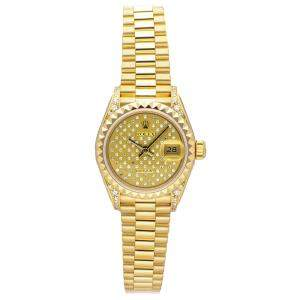 Rolex Champagne Pleiad Diamonds 18K Yellow Gold Datejust 69188 Women's Wristwatch 26 MM