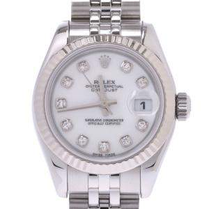 Rolex White Diamonds 18K White Gold And Stainless Steel Datejust 179174 Women's Wristwatch 28 MM