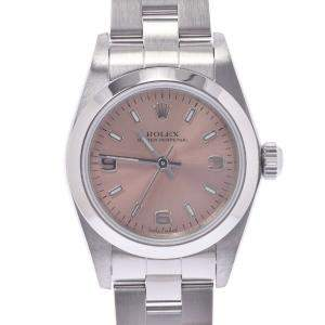 Rolex Pink Stainless Steel Oyster Perpetual 76080 Women's Wristwatch 24 MM