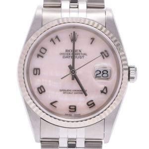 """ساعة يد نسائية رولكس """"دايتجست 16234إن ايه"""" ستانلس ستيل و ذهب أبيض عيار 18 وردية 26 مم"""
