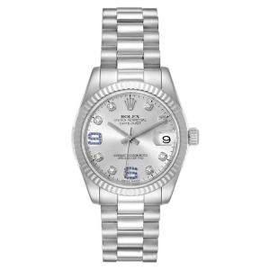"""ساعة يد نسائية رولكس """"بريزيدينت 178279"""" ذهب أبيض عيار 18 ياقوت أزرق و ألماس فضية 31 مم"""