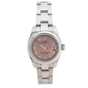 Rolex Salmon Stainless Steel Datejust 179160 Women's Wristwatch 26 mm