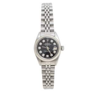 Rolex Black Stainless Steel Datejust Diamond 6916 Women's Wristwatch 26 mm