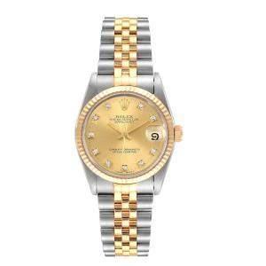 Rolex Datejust Midsize 31 Steel Yellow Gold Diamond Ladies Watch 68273 Box Papers