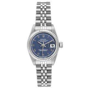 Rolex Blue 18K White Gold And Stainless Steel Datejust 69174 Women's Wristwatch 26 MM