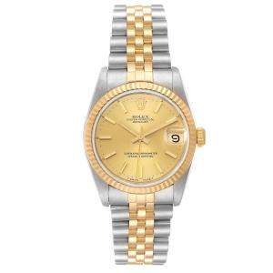 Rolex Champagne 18K Yellow Gold And Stainless Steel Datejust 68273 Women's Wristwatch 31 MM