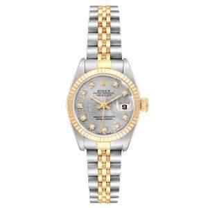Rolex Gray Diamonds 18K Yellow Gold And Stainless Steel Datejust 69173 Women's Wristwatch 26 MM