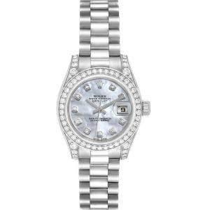 Rolex MOP Diamonds 18K White Gold President Datejust 179159 Women's Wristwatch 26 MM