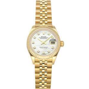 Rolex White Diamonds 18K Yellow Gold Datejust 279178 Women's Wristwatch 28 MM