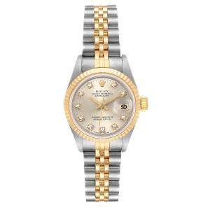 Rolex Silver Diamond 18K Yellow Gold And Stainless Steel Datejust 69173 Women's Wristwatch 26 MM