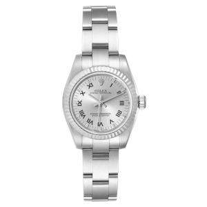 Rolex Silver 18K White Gold And Stainless Steel 1Oyster Perpetual 76234 Women's Wristwatch 26 MM