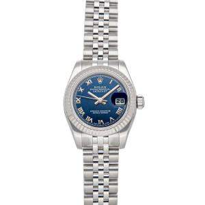 Rolex Blue 18K White Gold and Stainless Steel Datejust 179174 Women's Wristwatch 26MM