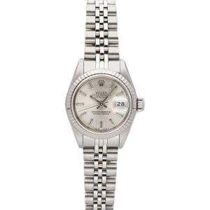 Rolex Silver 18K White Gold And Stainless Steel Datejust 69174 Women's Wristwatch 26 MM
