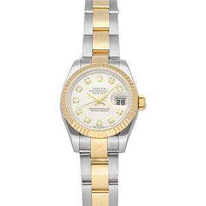 Rolex Silver Diamonds 18K Yellow Gold And Stainless Steel Datejust 179173 Women's Wristwatch 26 MM