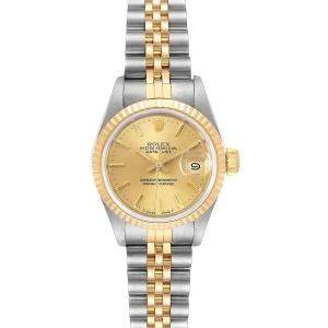 Rolex Champagne 18K Yellow Gold And Stainless Steel Datejust 69173 Women's Wristwatch 26 MM\