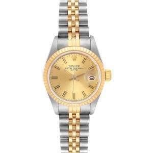 ساعة يد نسائية رولكس ديت جست 69173 ذهب أصفر عيار 18 وستانلس ستيل  شامبانيا  26 مم