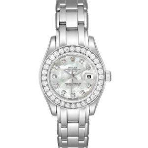 Rolex MOP Diamonds 18K White Gold Pearlmaster 80299 Women's Wristwatch 29 MM