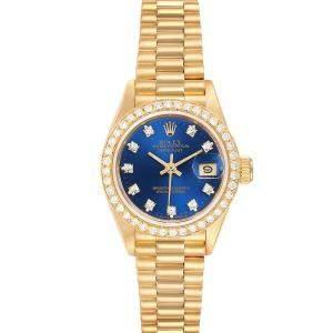 Rolex Blue Diamonds 18K Yellow Gold President Datejust 69178 Women's Wristwatch 26 MM