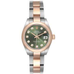 Rolex Olive Green Diamonds 18K Rose Gold And Stainless Steel Datejust 279161 Women's Wristwatch 28 MM