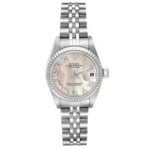 Rolex MOP 18K White Gold And Stainless Steel Datejust 79174 Women's Wristwatch 26 MM