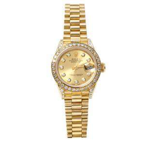 Rolex Champagne 18K Yellow Gold Diamond Datejust 69158 Women's Watch 26 mm