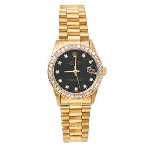 Rolex Black 18K Yellow Gold Diamond Datejust 68278 Women's Wristwatch 31 mm