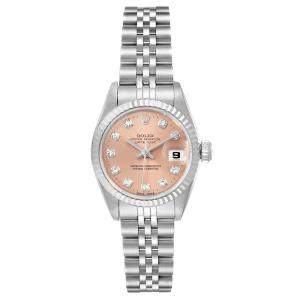 Rolex Salmon Diamonds 18K White Gold And Stainless Steel Datejust 69174 Women's Wristwatch 26 MM