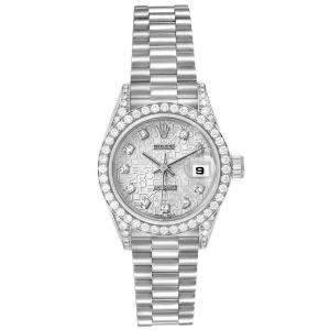Rolex Silver Diamonds 18K White Gold Oyster Perpetual Datejust 69159 Women's Wristwatch 26 MM