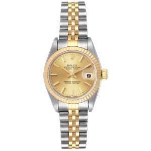 ساعة يد نسائية رولكس ذهب أصفر عيار 18 وستانلس ستيل ديت جست 79173  شامبانيا 26 مم