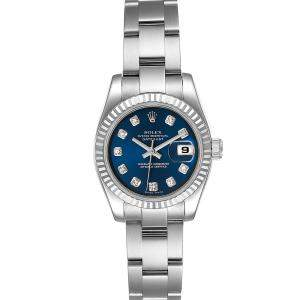 Rolex Blue Diamonds 18k White Gold Datejust 179174 Women's Wristwatch 26 MM